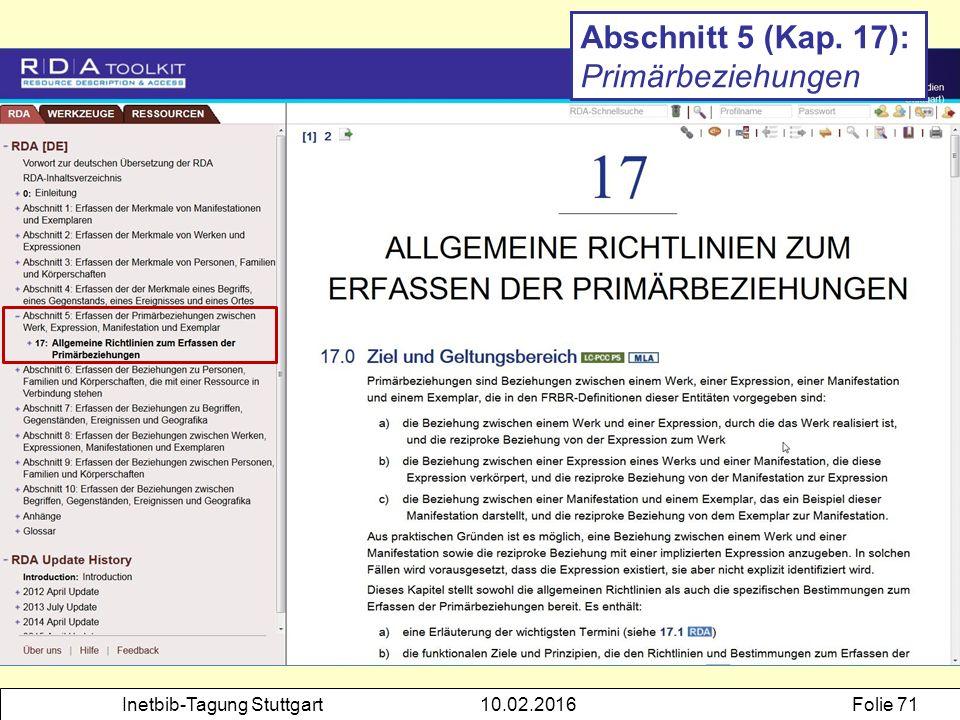Inetbib-Tagung Stuttgart10.02.2016Folie 71 Abschnitt 5 (Kap. 17): Primärbeziehungen