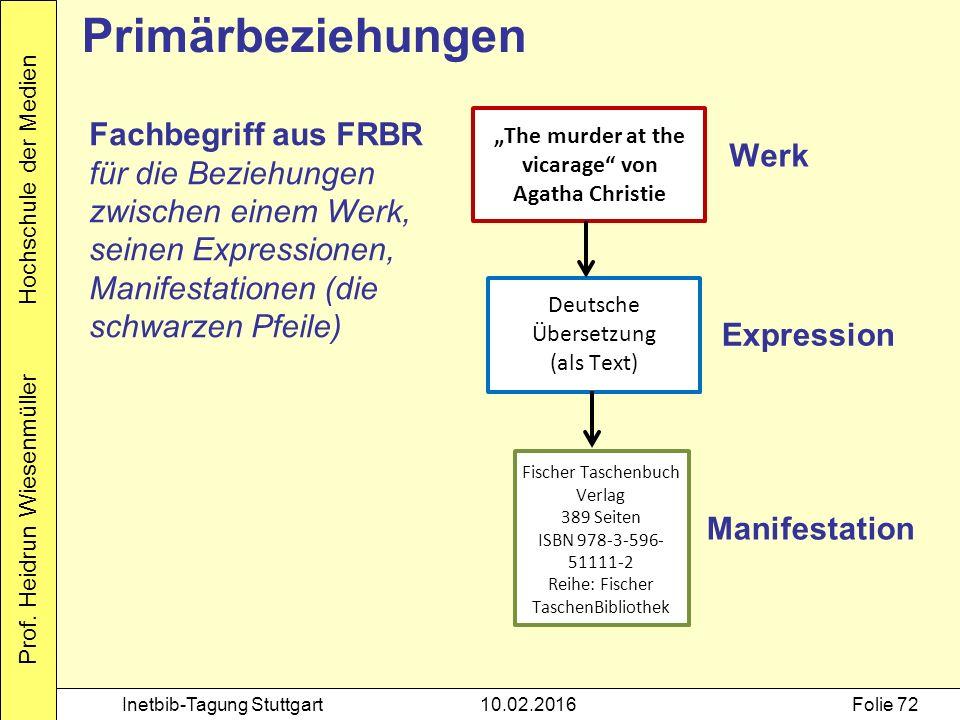"""Prof. Heidrun Wiesenmüller Hochschule der Medien Inetbib-Tagung Stuttgart10.02.2016Folie 72 Primärbeziehungen """"The murder at the vicarage"""" von Agatha"""