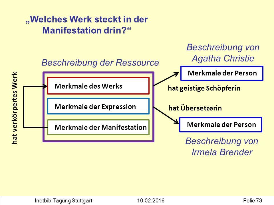 Inetbib-Tagung Stuttgart10.02.2016Folie 73 Merkmale des Werks Merkmale der Expression Merkmale der Manifestation Beschreibung der Ressource Merkmale d