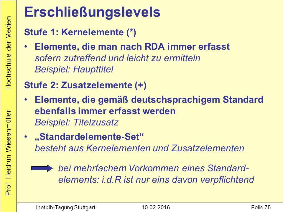 Prof. Heidrun Wiesenmüller Hochschule der Medien Inetbib-Tagung Stuttgart10.02.2016Folie 75 Stufe 1: Kernelemente (*) Elemente, die man nach RDA immer