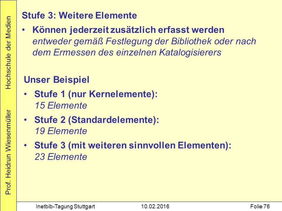 Prof. Heidrun Wiesenmüller Hochschule der Medien Inetbib-Tagung Stuttgart10.02.2016Folie 76 Stufe 3: Weitere Elemente Können jederzeit zusätzlich erfa