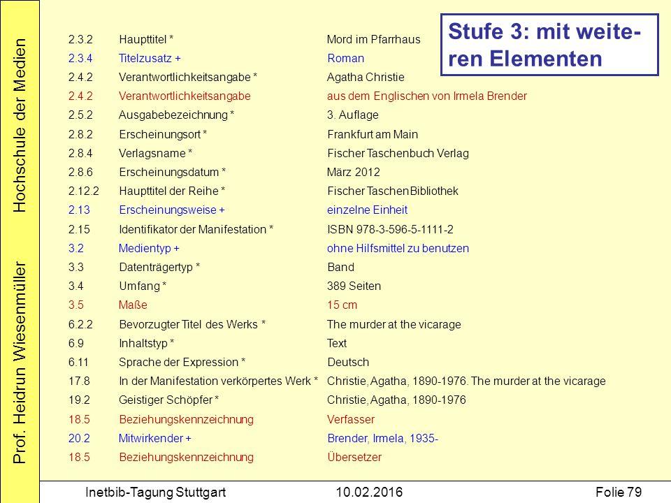 Prof. Heidrun Wiesenmüller Hochschule der Medien Inetbib-Tagung Stuttgart10.02.2016Folie 79 2.3.2Haupttitel *Mord im Pfarrhaus 2.3.4Titelzusatz +Roman