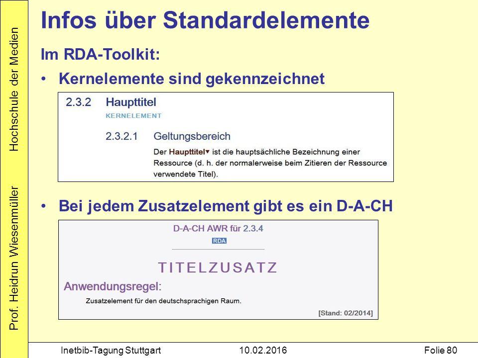 Prof. Heidrun Wiesenmüller Hochschule der Medien Inetbib-Tagung Stuttgart10.02.2016Folie 80 Im RDA-Toolkit: Kernelemente sind gekennzeichnet Bei jedem