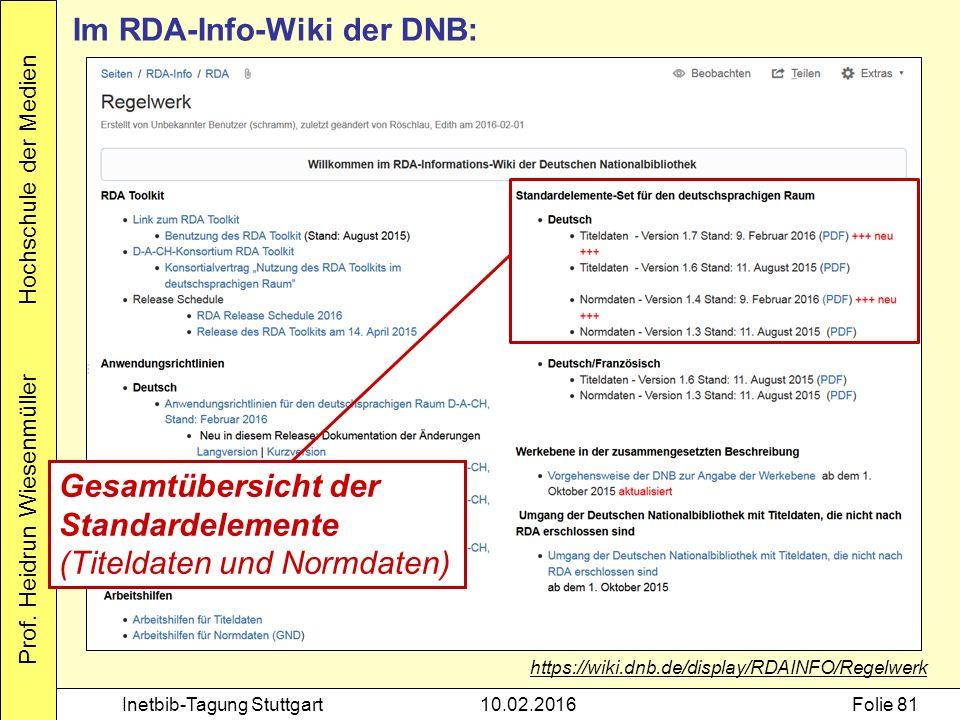 Prof. Heidrun Wiesenmüller Hochschule der Medien Inetbib-Tagung Stuttgart10.02.2016Folie 81 Im RDA-Info-Wiki der DNB: https://wiki.dnb.de/display/RDAI