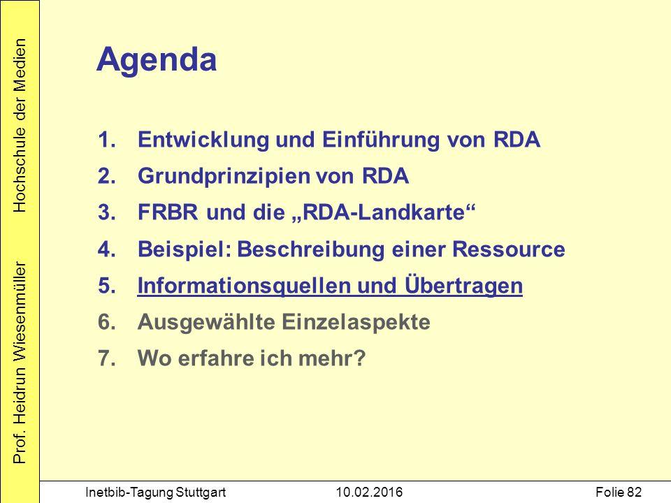 Prof. Heidrun Wiesenmüller Hochschule der Medien Inetbib-Tagung Stuttgart10.02.2016Folie 82 Agenda 1.Entwicklung und Einführung von RDA 2.Grundprinzip