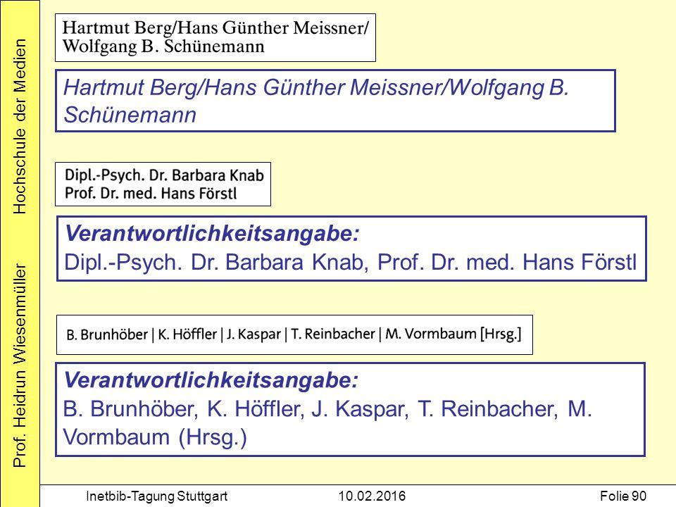 Prof. Heidrun Wiesenmüller Hochschule der Medien Inetbib-Tagung Stuttgart10.02.2016Folie 90 Hartmut Berg/Hans Günther Meissner/Wolfgang B. Schünemann