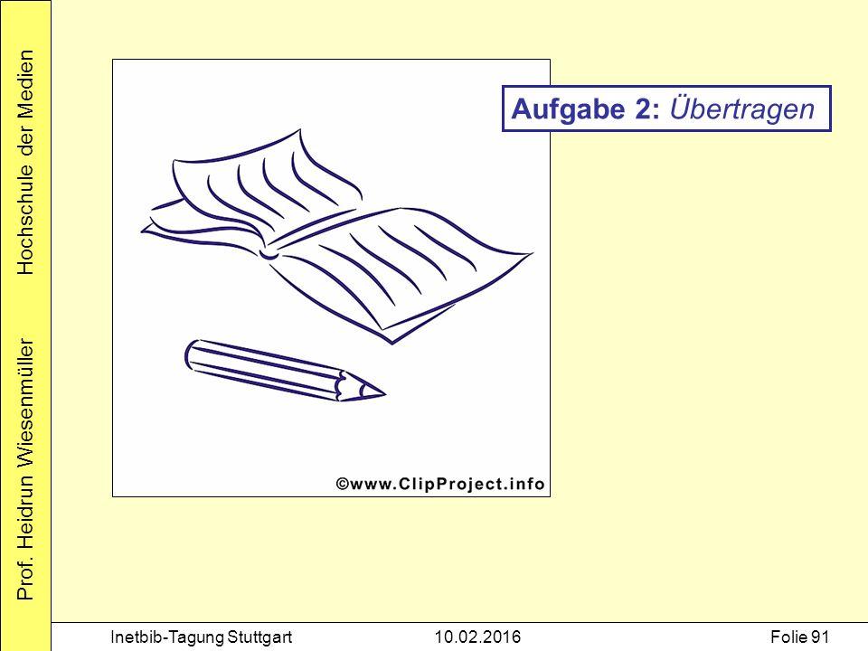 Prof. Heidrun Wiesenmüller Hochschule der Medien Inetbib-Tagung Stuttgart10.02.2016Folie 91 Aufgabe 2: Übertragen