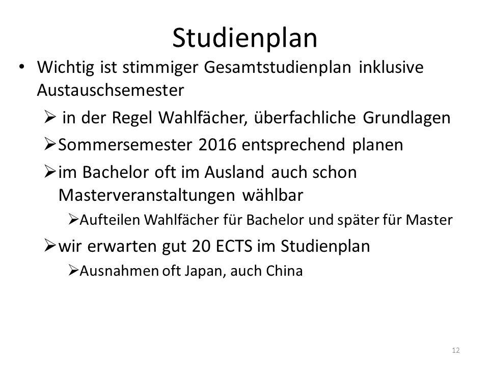 Studienplan Wichtig ist stimmiger Gesamtstudienplan inklusive Austauschsemester  in der Regel Wahlfächer, überfachliche Grundlagen  Sommersemester 2