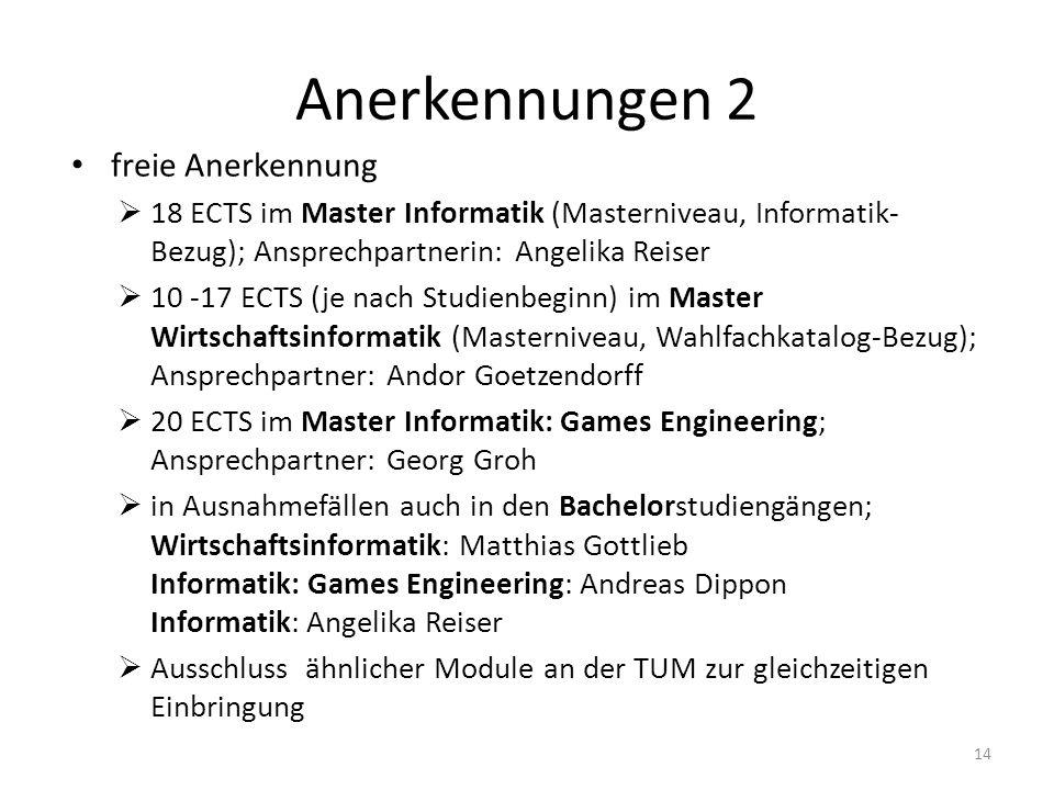 Anerkennungen 2 freie Anerkennung  18 ECTS im Master Informatik (Masterniveau, Informatik- Bezug); Ansprechpartnerin: Angelika Reiser  10 -17 ECTS (