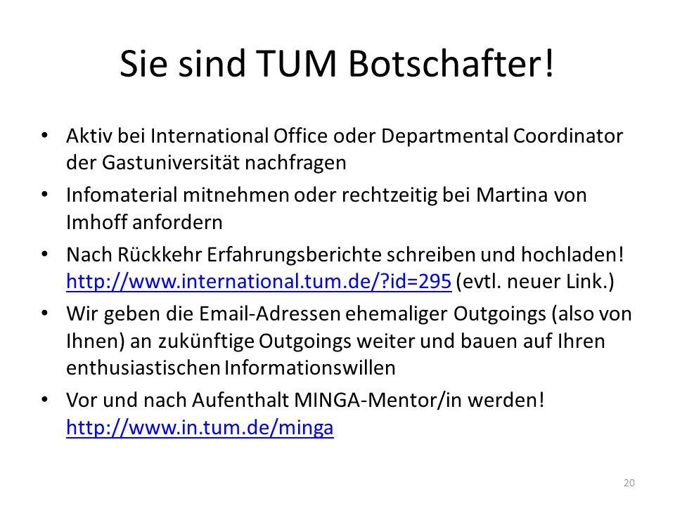 Sie sind TUM Botschafter! Aktiv bei International Office oder Departmental Coordinator der Gastuniversität nachfragen Infomaterial mitnehmen oder rech