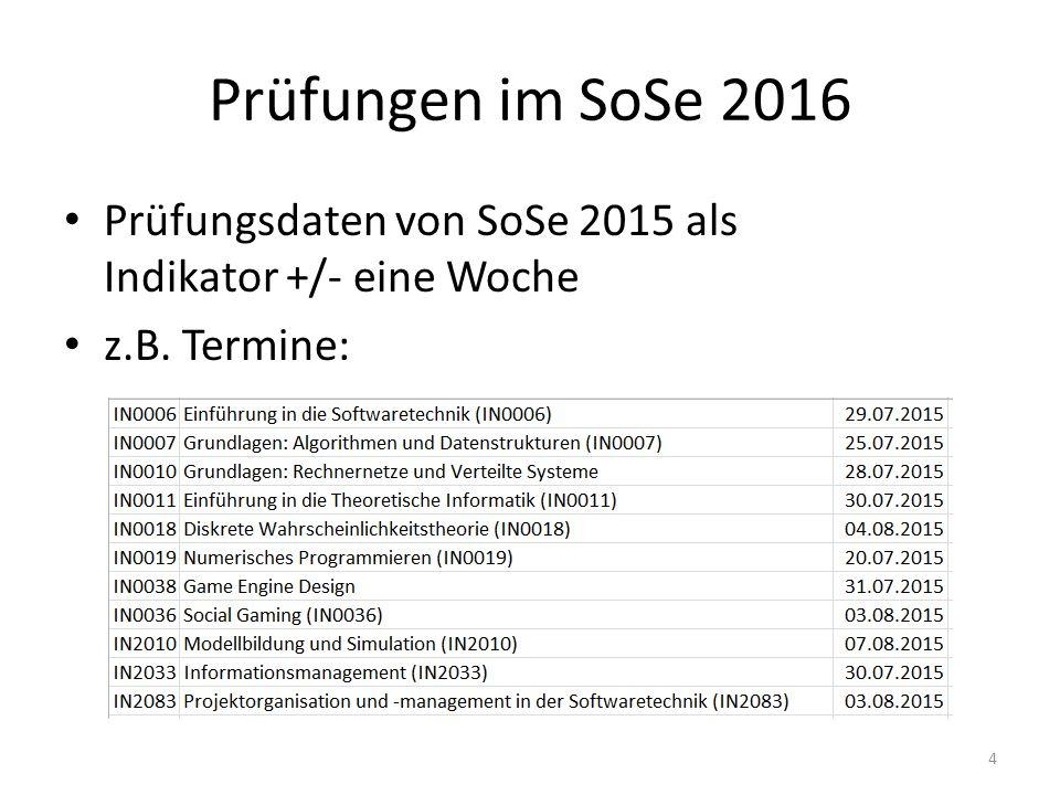 Prüfungen im SoSe 2016 Prüfungsdaten von SoSe 2015 als Indikator +/- eine Woche z.B. Termine: 4