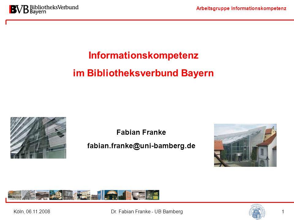 Arbeitsgruppe Informationskompetenz Ausweitung der Bibliothekslandkarte Standards Arbeitsmaterialien