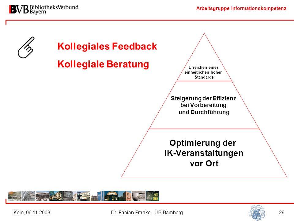 Arbeitsgruppe Informationskompetenz Köln, 06.11.2008Dr. Fabian Franke - UB Bamberg29 Erreichen eines einheitlichen hohen Standards Steigerung der Effi