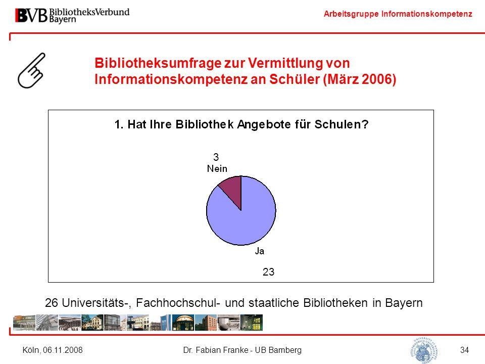 Arbeitsgruppe Informationskompetenz Köln, 06.11.2008Dr. Fabian Franke - UB Bamberg34 3 23 26 Universitäts-, Fachhochschul- und staatliche Bibliotheken