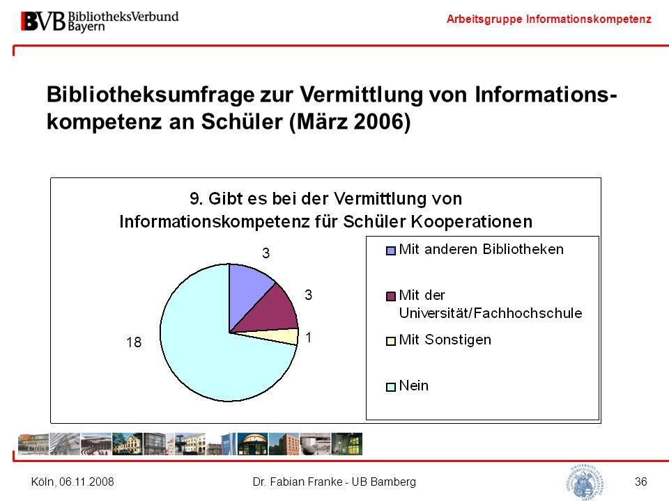 Arbeitsgruppe Informationskompetenz Köln, 06.11.2008Dr. Fabian Franke - UB Bamberg36 Bibliotheksumfrage zur Vermittlung von Informations- kompetenz an