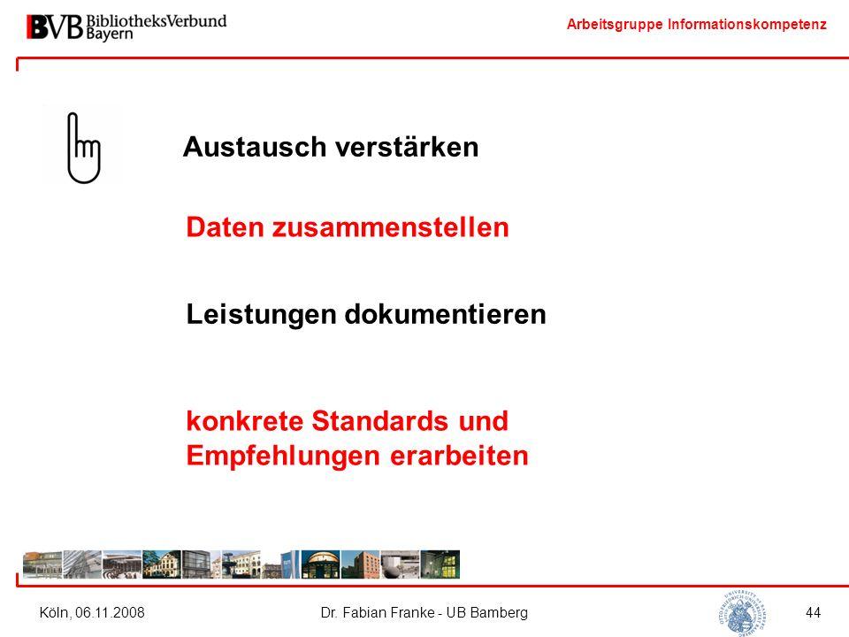 Arbeitsgruppe Informationskompetenz Köln, 06.11.2008Dr. Fabian Franke - UB Bamberg44 Austausch verstärken Daten zusammenstellen Leistungen dokumentier