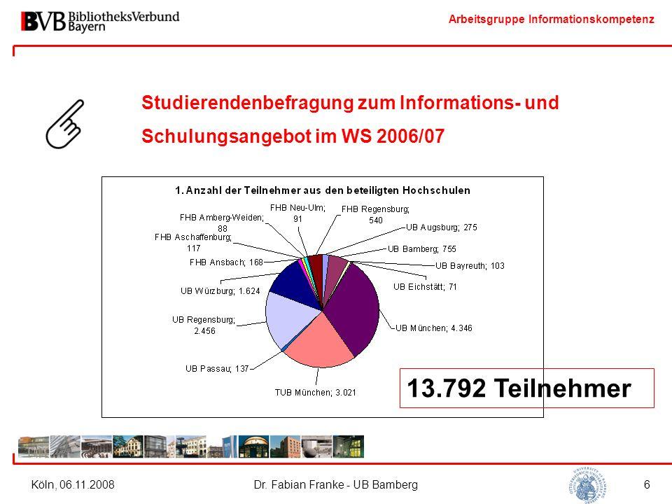Arbeitsgruppe Informationskompetenz Köln, 06.11.2008Dr. Fabian Franke - UB Bamberg6 Studierendenbefragung zum Informations- und Schulungsangebot im WS