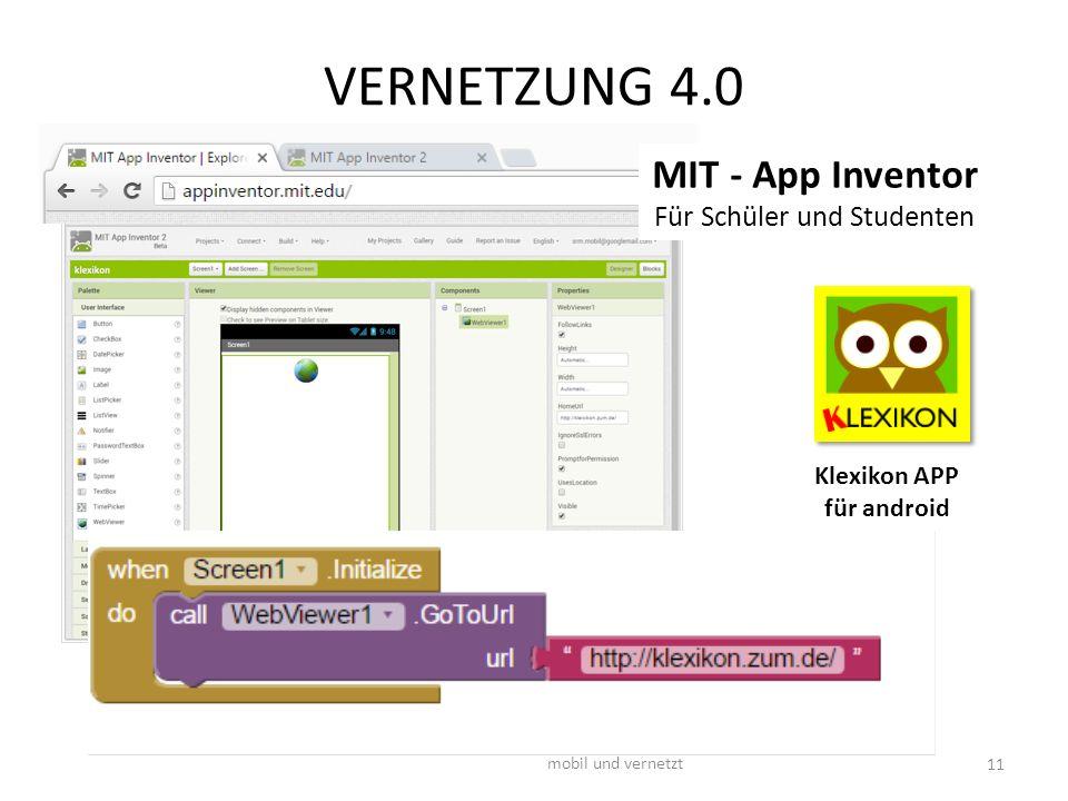 VERNETZUNG 4.0 mobil und vernetzt 11 Klexikon APP für android MIT - App Inventor Für Schüler und Studenten