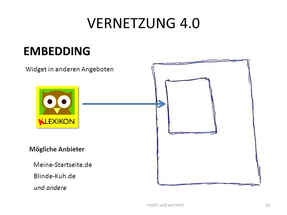 VERNETZUNG 4.0 mobil und vernetzt 13 Widget in anderen Angeboten Mögliche Anbieter Meine-Startseite.de EMBEDDING Blinde-Kuh.de und andere