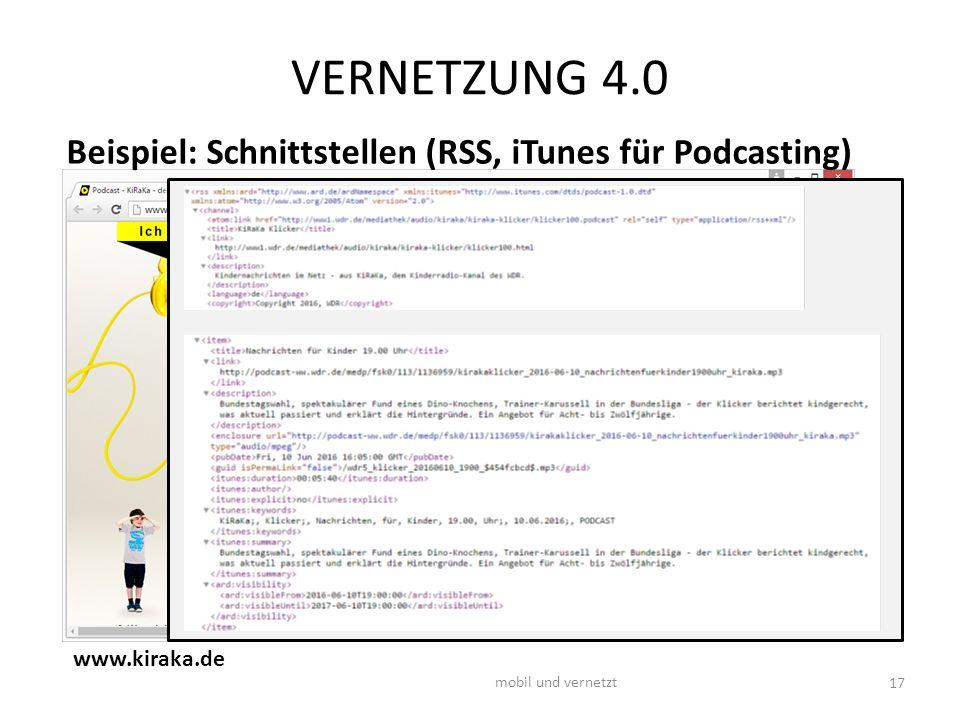 VERNETZUNG 4.0 17 mobil und vernetzt www.kiraka.de Beispiel: Schnittstellen (RSS, iTunes für Podcasting)