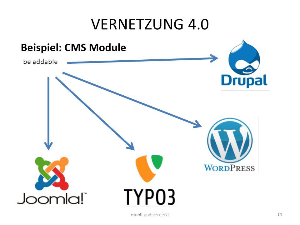 VERNETZUNG 4.0 Beispiel: CMS Module be addable mobil und vernetzt19