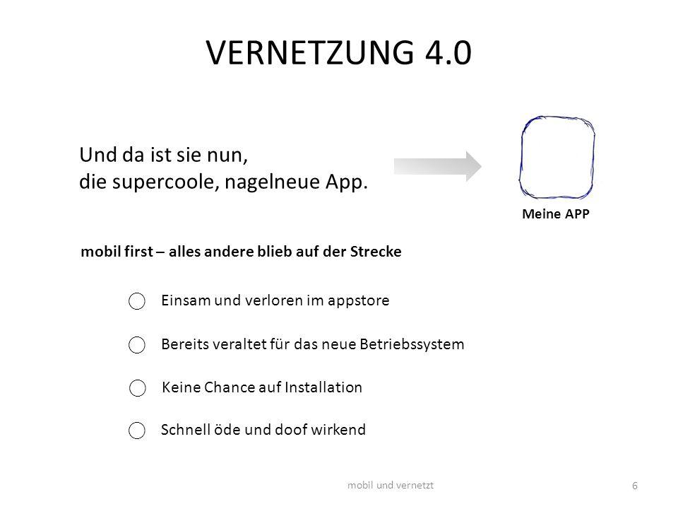 VERNETZUNG 4.0 mobil und vernetzt 6 Meine APP Und da ist sie nun, die supercoole, nagelneue App. mobil first – alles andere blieb auf der Strecke ⃝ Ei