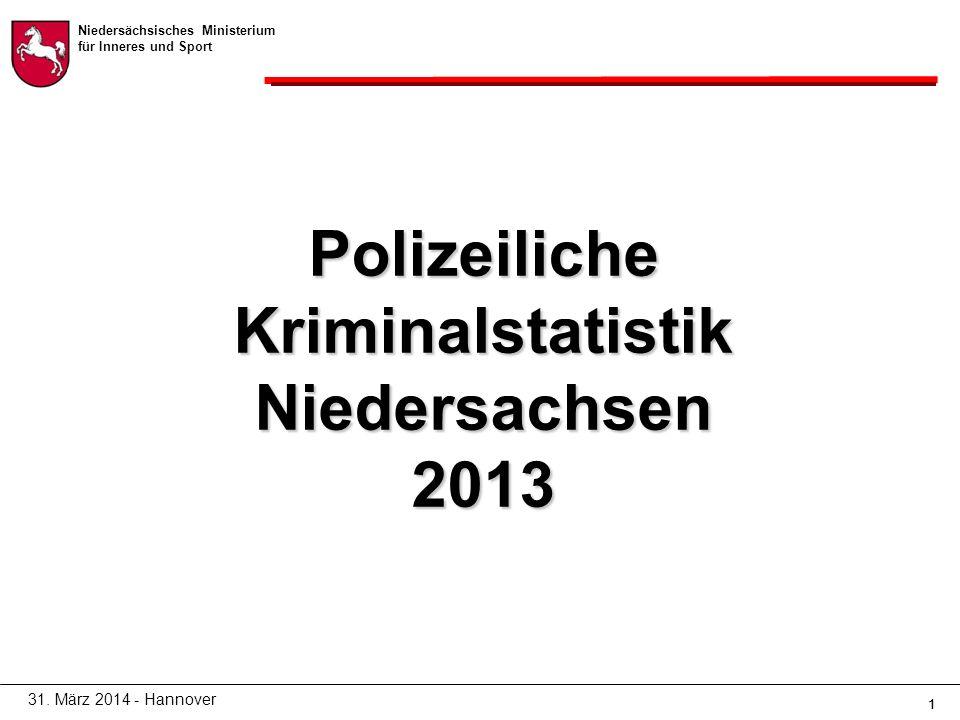 Niedersächsisches Ministerium für Inneres und Sport 11 Polizeiliche Kriminalstatistik Niedersachsen 2013 31.