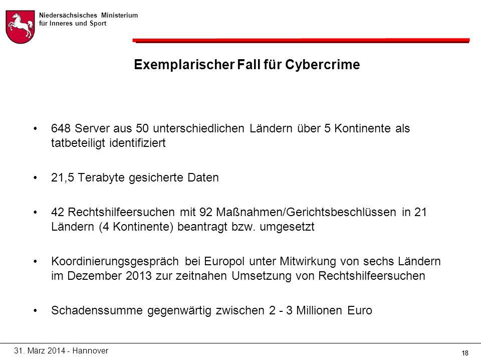 Niedersächsisches Ministerium für Inneres und Sport 18 Exemplarischer Fall für Cybercrime 648 Server aus 50 unterschiedlichen Ländern über 5 Kontinente als tatbeteiligt identifiziert 21,5 Terabyte gesicherte Daten 42 Rechtshilfeersuchen mit 92 Maßnahmen/Gerichtsbeschlüssen in 21 Ländern (4 Kontinente) beantragt bzw.
