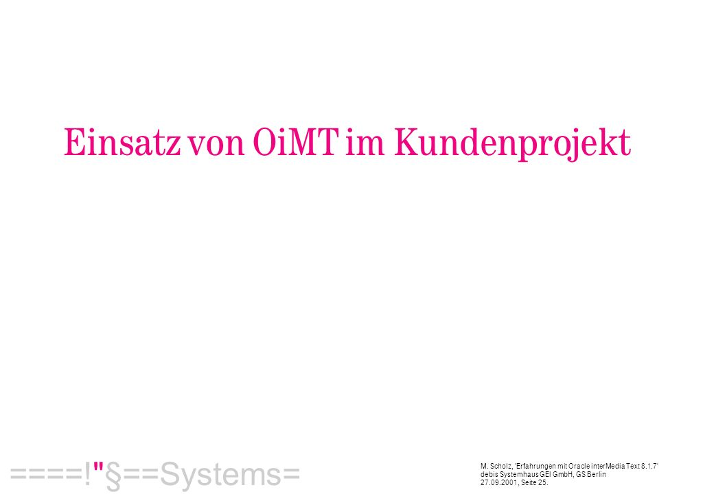  ====! §==Systems= M.