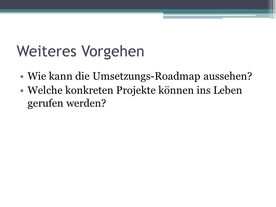 Weiteres Vorgehen Wie kann die Umsetzungs-Roadmap aussehen.