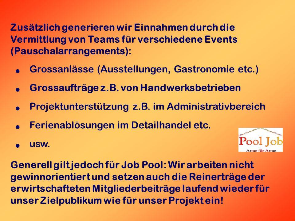 Zusätzlich generieren wir Einnahmen durch die Vermittlung von Teams für verschiedene Events (Pauschalarrangements): Grossanlässe (Ausstellungen, Gastronomie etc.) Grossaufträge z.B.