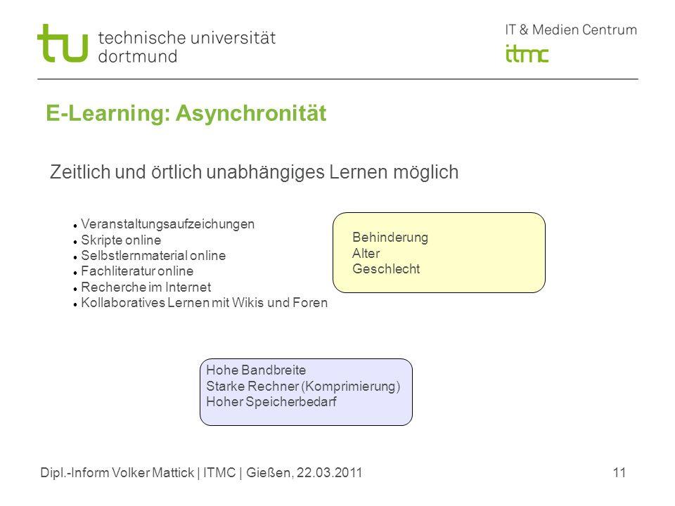 Dipl.-Inform Volker Mattick | ITMC | Gießen, 22.03.201111 E-Learning: Asynchronität Zeitlich und örtlich unabhängiges Lernen möglich Veranstaltungsauf