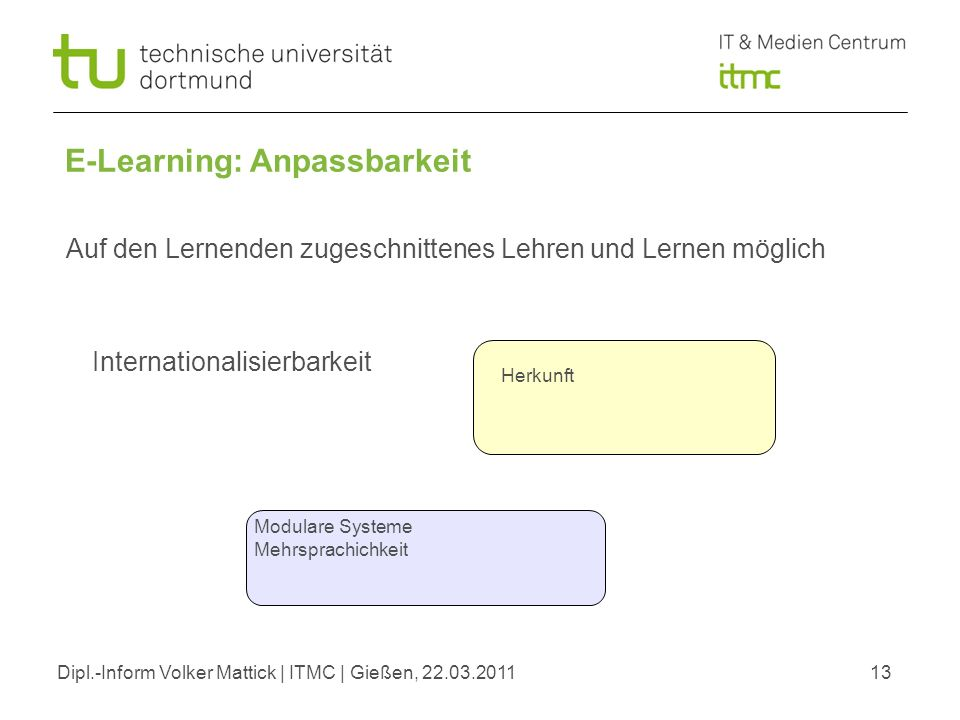 Dipl.-Inform Volker Mattick | ITMC | Gießen, 22.03.201113 E-Learning: Anpassbarkeit Internationalisierbarkeit Auf den Lernenden zugeschnittenes Lehren und Lernen möglich Herkunft Modulare Systeme Mehrsprachichkeit