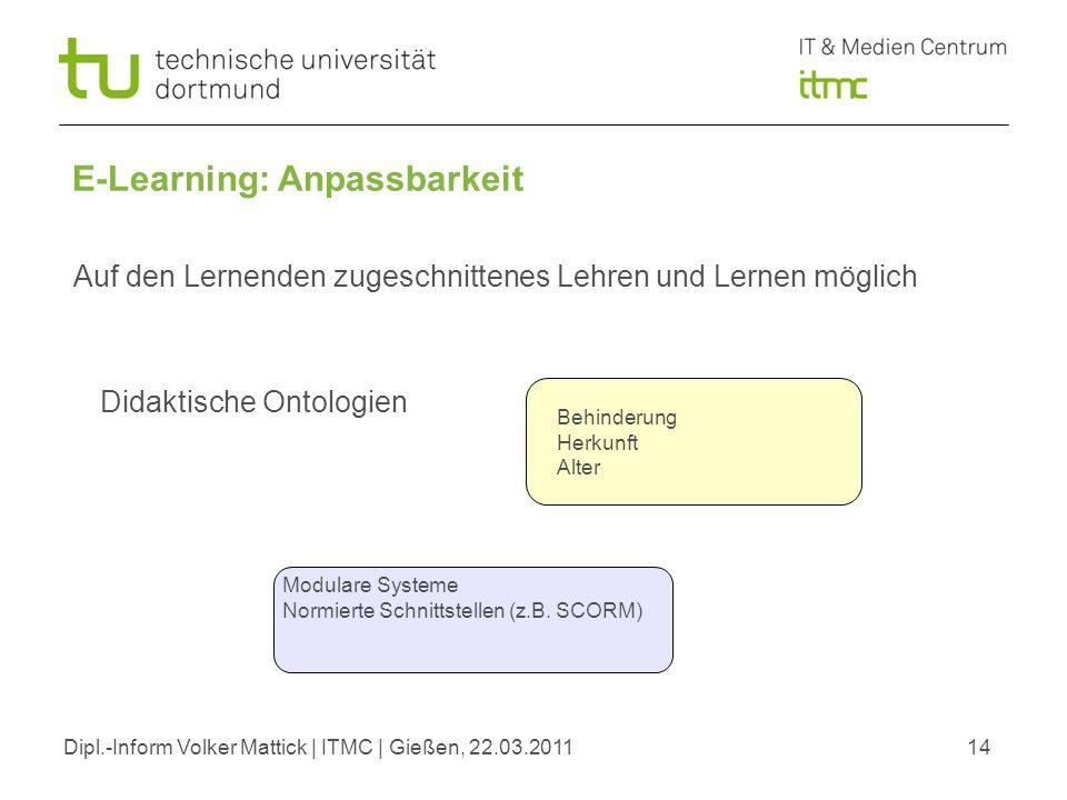 Dipl.-Inform Volker Mattick | ITMC | Gießen, 22.03.201114 E-Learning: Anpassbarkeit Didaktische Ontologien Auf den Lernenden zugeschnittenes Lehren un