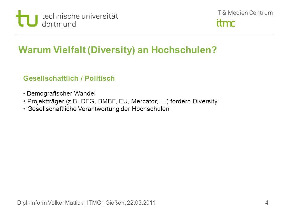 Dipl.-Inform Volker Mattick | ITMC | Gießen, 22.03.20114 Gesellschaftlich / Politisch Demografischer Wandel Projektträger (z.B. DFG, BMBF, EU, Mercato