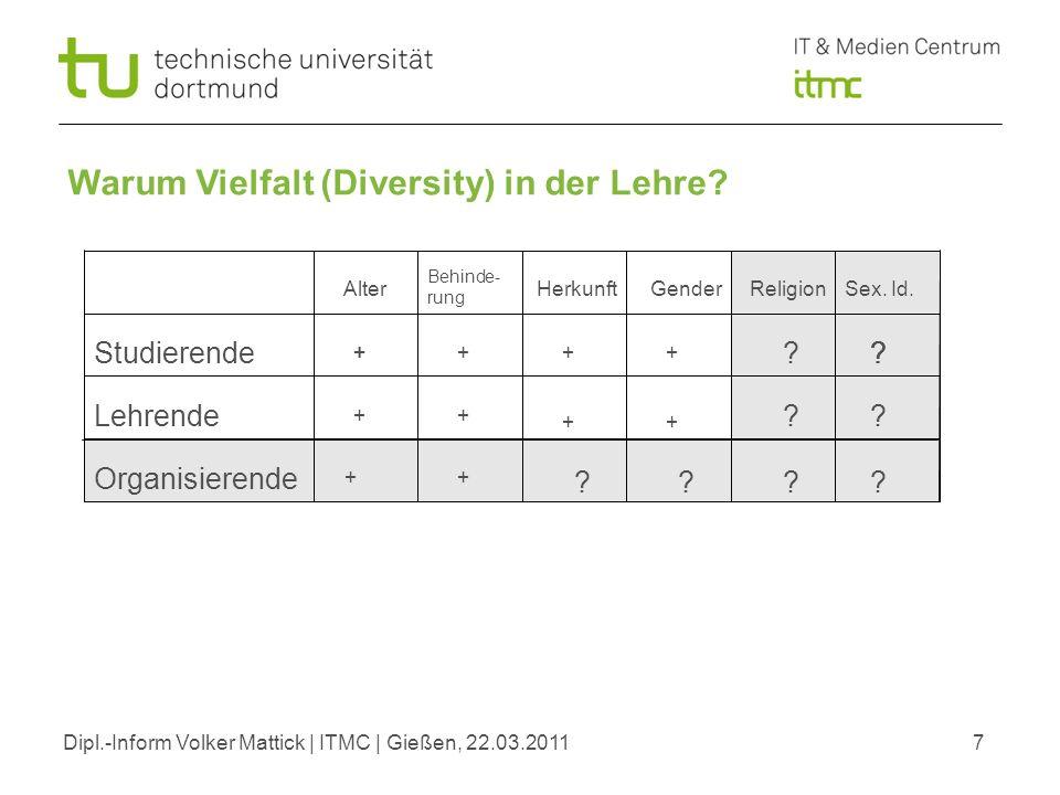 Dipl.-Inform Volker Mattick | ITMC | Gießen, 22.03.20117 Warum Vielfalt (Diversity) in der Lehre? Organisierende Studierende Lehrende Alter Behinde- r