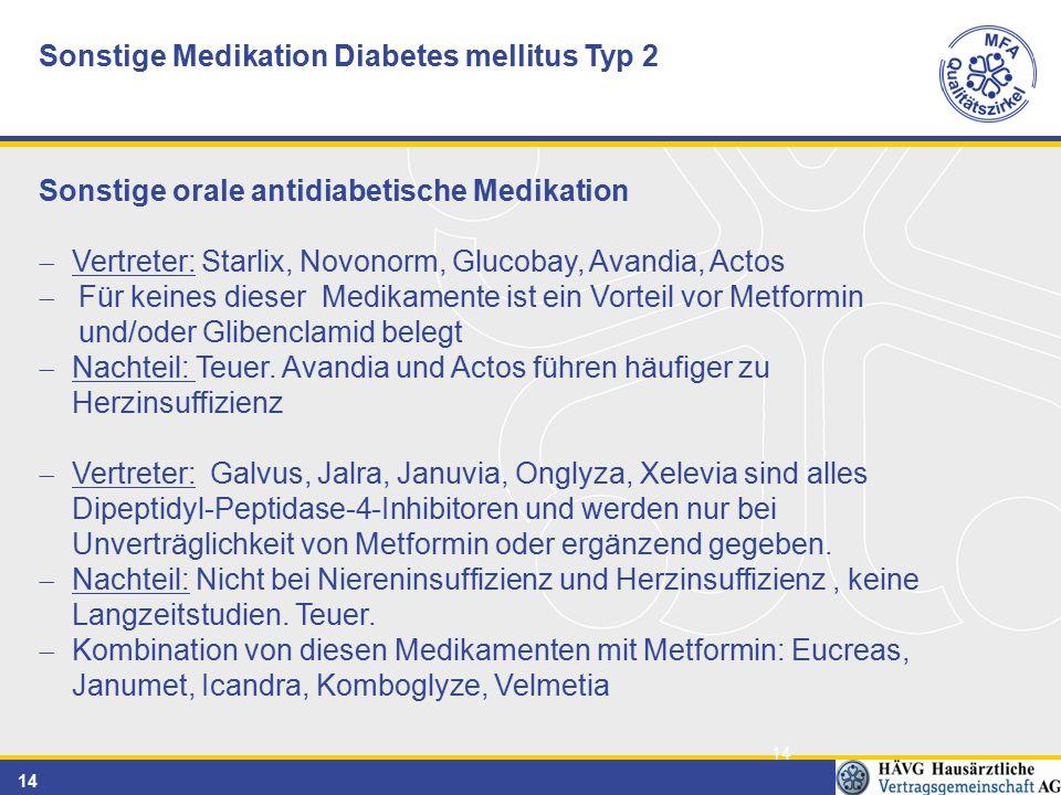 14 Sonstige Medikation Diabetes mellitus Typ 2 Sonstige orale antidiabetische Medikation  Vertreter: Starlix, Novonorm, Glucobay, Avandia, Actos  Für keines dieser Medikamente ist ein Vorteil vor Metformin und/oder Glibenclamid belegt  Nachteil: Teuer.