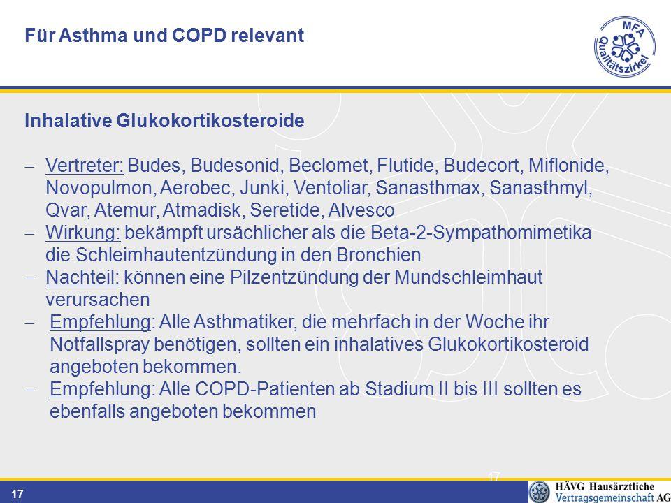 17 Für Asthma und COPD relevant Inhalative Glukokortikosteroide  Vertreter: Budes, Budesonid, Beclomet, Flutide, Budecort, Miflonide, Novopulmon, Aerobec, Junki, Ventoliar, Sanasthmax, Sanasthmyl, Qvar, Atemur, Atmadisk, Seretide, Alvesco  Wirkung: bekämpft ursächlicher als die Beta-2-Sympathomimetika die Schleimhautentzündung in den Bronchien  Nachteil: können eine Pilzentzündung der Mundschleimhaut verursachen  Empfehlung: Alle Asthmatiker, die mehrfach in der Woche ihr Notfallspray benötigen, sollten ein inhalatives Glukokortikosteroid angeboten bekommen.