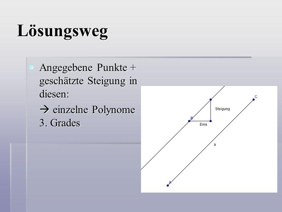 Lösungsweg  Angegebene Punkte + geschätzte Steigung in diesen:  einzelne Polynome 3. Grades