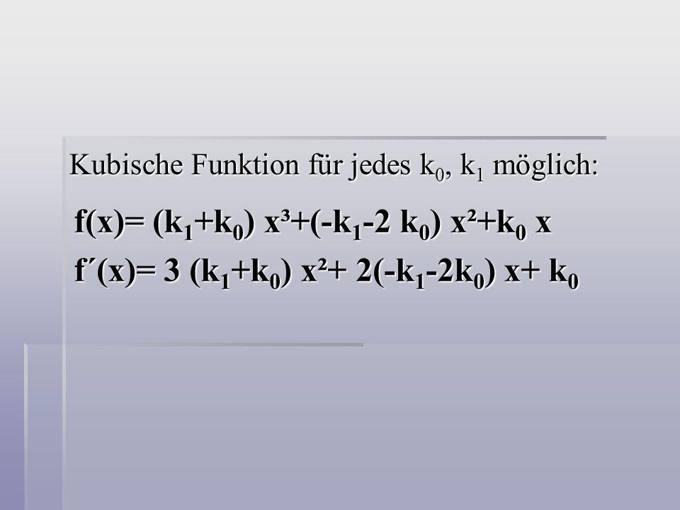 Kubische Funktion für jedes k 0, k 1 möglich: f(x)= (k 1 +k 0 ) x³+(-k 1 -2 k 0 ) x²+k 0 x f´(x)= 3 (k 1 +k 0 ) x²+ 2(-k 1 -2k 0 ) x+ k 0