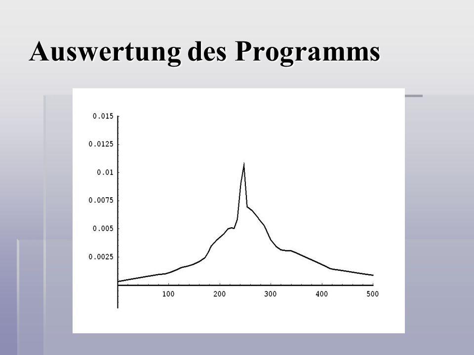 Auswertung des Programms