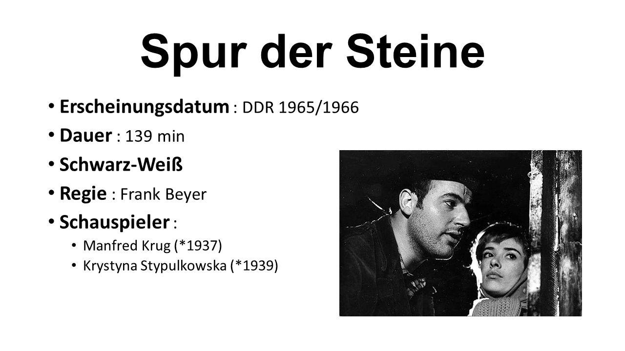 Erscheinungsdatum : DDR 1965/1966 Dauer : 139 min Schwarz-Weiß Regie : Frank Beyer Schauspieler : Manfred Krug (*1937) Krystyna Stypulkowska (*1939)