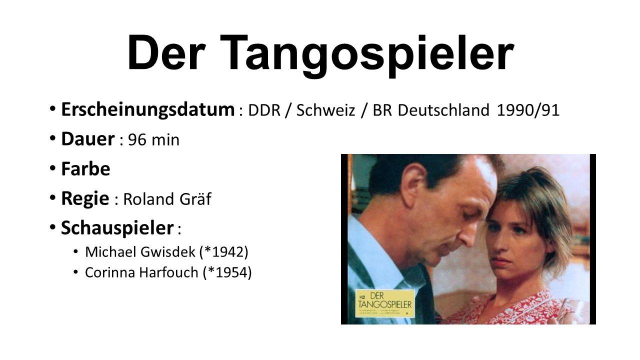Erscheinungsdatum : DDR / Schweiz / BR Deutschland 1990/91 Dauer : 96 min Farbe Regie : Roland Gräf Schauspieler : Michael Gwisdek (*1942) Corinna Harfouch (*1954)