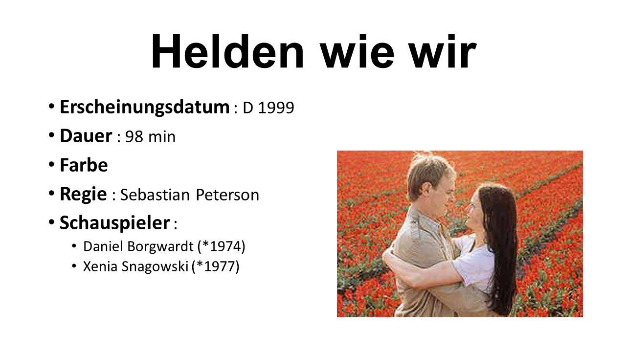 Erscheinungsdatum : D 1999 Dauer : 98 min Farbe Regie : Sebastian Peterson Schauspieler : Daniel Borgwardt (*1974) Xenia Snagowski (*1977)