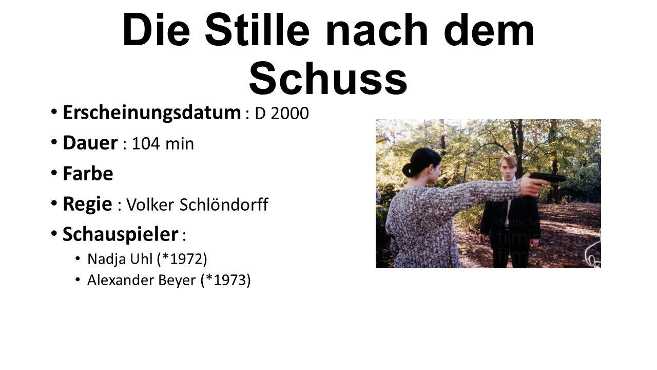 Erscheinungsdatum : D 2000 Dauer : 104 min Farbe Regie : Volker Schlöndorff Schauspieler : Nadja Uhl (*1972) Alexander Beyer (*1973)