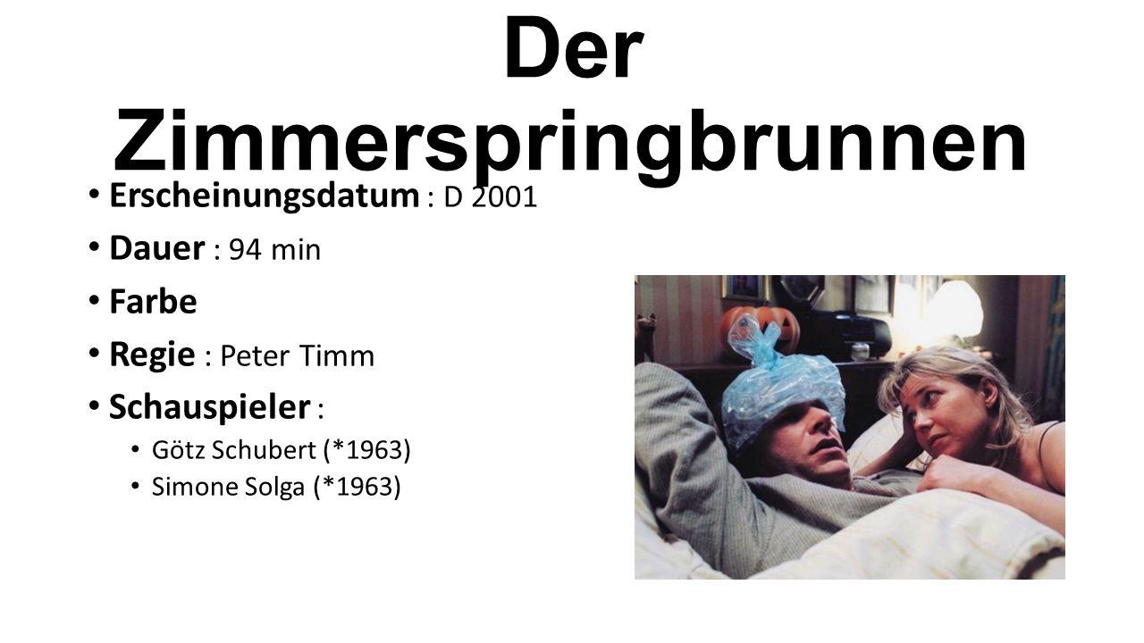 Erscheinungsdatum : D 2001 Dauer : 94 min Farbe Regie : Peter Timm Schauspieler : Götz Schubert (*1963) Simone Solga (*1963)