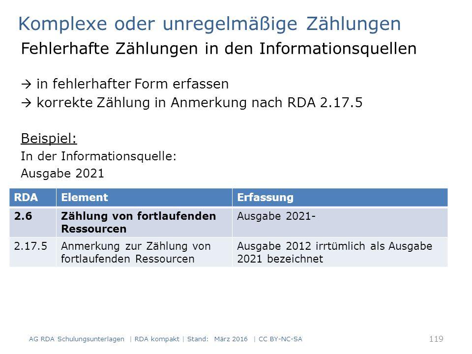 Komplexe oder unregelmäßige Zählungen Fehlerhafte Zählungen in den Informationsquellen  in fehlerhafter Form erfassen  korrekte Zählung in Anmerkung nach RDA 2.17.5 Beispiel: In der Informationsquelle: Ausgabe 2021 AG RDA Schulungsunterlagen | RDA kompakt | Stand: März 2016 | CC BY-NC-SA 119 RDAElementErfassung 2.6Zählung von fortlaufenden Ressourcen Ausgabe 2021- 2.17.5Anmerkung zur Zählung von fortlaufenden Ressourcen Ausgabe 2012 irrtümlich als Ausgabe 2021 bezeichnet
