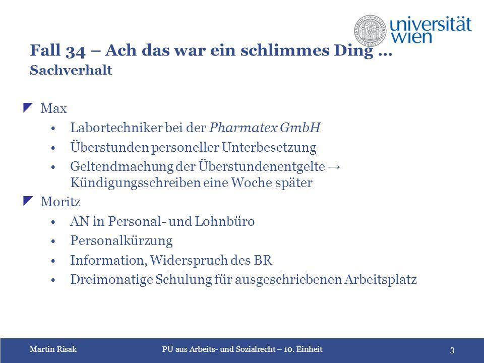 Martin RisakP Ü aus Arbeits- und Sozialrecht – 10.