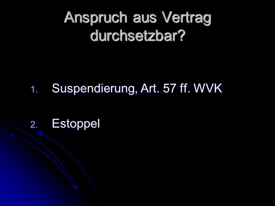 Anspruch aus Vertrag durchsetzbar 1. Suspendierung, Art. 57 ff. WVK 2. Estoppel