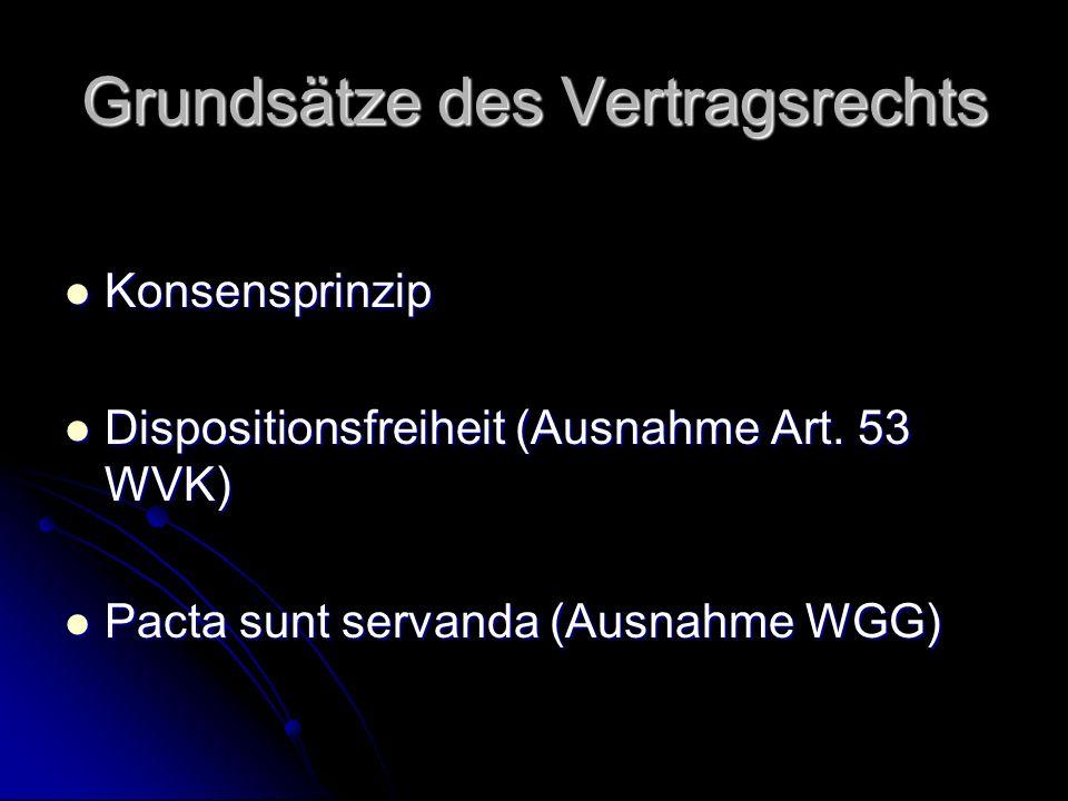 Grundsätze des Vertragsrechts Konsensprinzip Konsensprinzip Dispositionsfreiheit (Ausnahme Art.